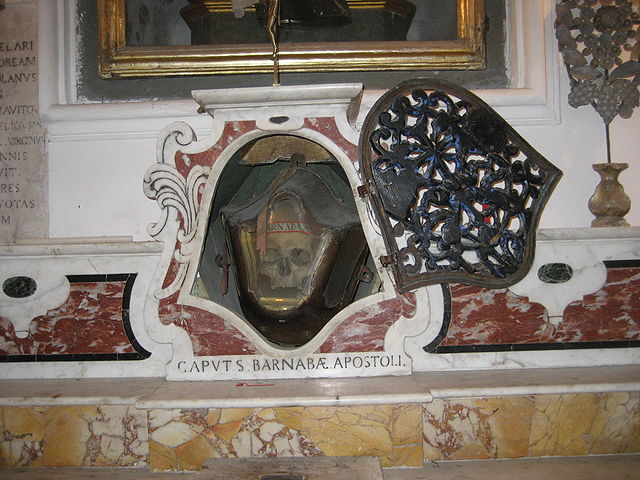 Глава апостола Варнавы, хранимая в церкви города Конка-дей-Марини, Италия