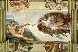 History of art - The Creation of Adam; by Michelangelo; 1508–1512; fresco; 480.1 × 230.1 cm (15.7 × 7.5 ft); Sistine Chapel (Vatican City)