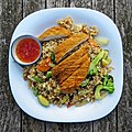 Crispy chicken and rice at Highgate Cricket Club, Crouch End, plan view focus 2.jpg