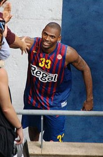 Pete Mickeal - Mickeal wearing the jersey of FC Barcelona.