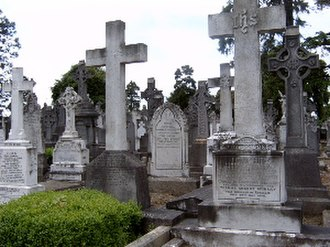 Glasnevin Cemetery - Typical Glasnevin cemetery mid 19th century plain and Celtic cross gravestones.