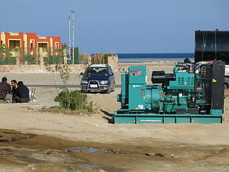 Diesel generator - A Cummins diesel generator of 150kVA temporarily parked in a tourist resort in Egypt.