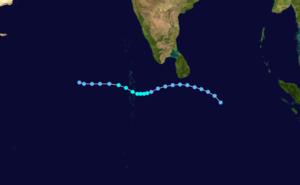 1991 North Indian Ocean cyclone season - Image: Cyclone 01A 1991 track