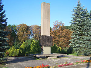 Memorial dedicated to World War II resistance fighters on the site of Stalag VIII-D.