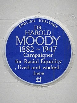 Dr harold moody 1882 1947 campaigner for racial equality lived and worked here