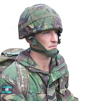 Combat helmet - Example of a modern combat helmet (British Mk 6 with cloth cover)