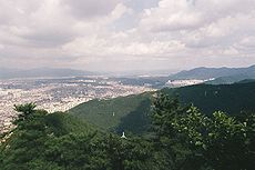 View of south-western Daegu from Apsan Park, including some of the hills that line the southern edge of the city.