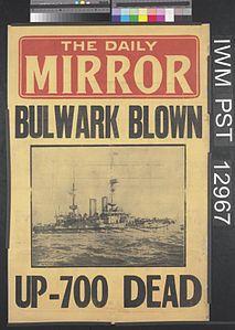 Daily Mirror Placard explosion of HMS Bulwark.jpg