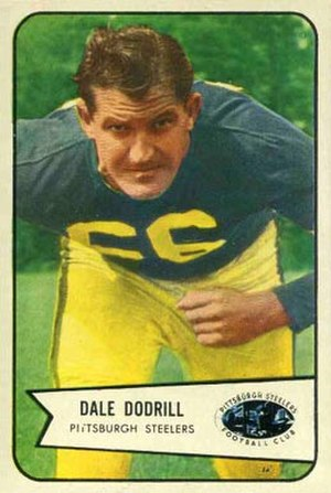 Dale Dodrill - Dodrill on a 1954 Bowman football card