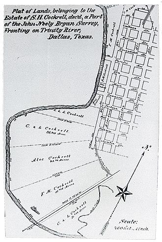 History of Dallas - Map of central Dallas c. 1871