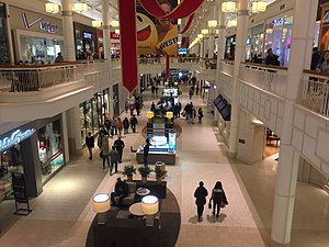 Danbury Fair (shopping mall) - Interior of mall during 2017 holiday shopping season, showing new color scheme and decor