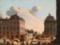 Dansk maler, 19. årh. - Vue mod Bredgade og Amalienborg Slotsplads set fra ruinerne af Marmorkirken.png
