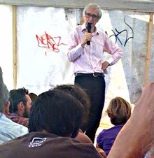 Fleming giving a talk in a tent at the 2009 Climate Camp protest in Blackheath, London, UK.