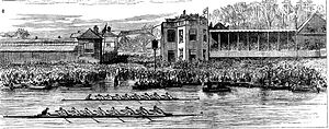 The Boat Race 1877 - A depiction of the finish of the 1877 University Boat Race