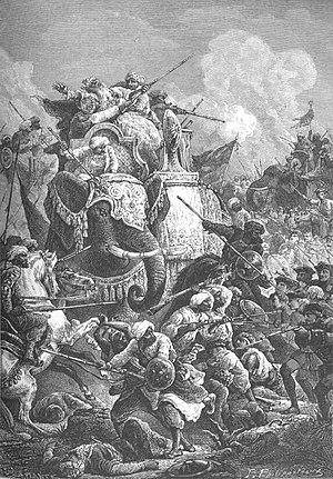 Carnatic Wars - Death of the Nawab Anwaruddin Mohammed Khan in a battle (battle of Ambur) against the French in 1749 (by Paul Philipoteaux).