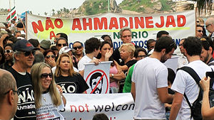 Protest - Demonstration against the President of Iran Mahmoud Ahmadinejad during the Rio+20 conference in Brazil, June 2012