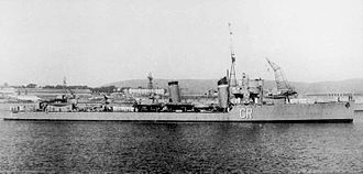 Asturias Offensive - The destroyer Císcar, sank at Gijón's harbour on 20 October.