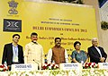 Dharmendra Pradhan chairing the Delhi Economics Conclave – Plenary Session 5, in New Delhi on November 06, 2015. The Chief Minister of Andhra Pradesh, Shri N. Chandrababu Naidu and other dignitaries are also seen.jpg