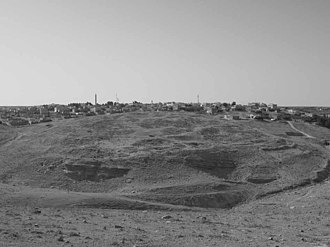 Dhiban, Jordan - Ancient Dhiban with modern settlement in the background, looking south