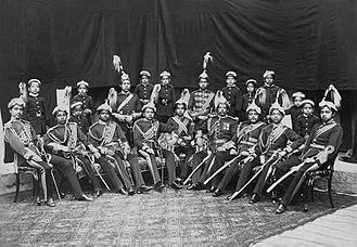 Rana dynasty - Image: Dhir Shamsher Rana and sons bw