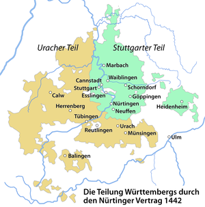 County of Württemberg - Division of Württemberg by the Treaty of Nürtingen