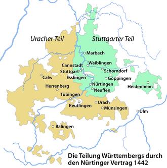 County of Württemberg - Division of Württemberg by the Treaty of Nürtingen