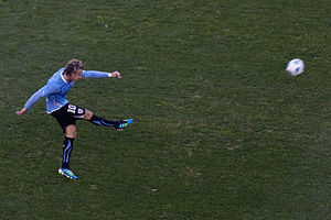 Diego Forlán - Forlán in action with Uruguay