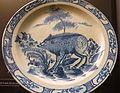 Dish with boar, segmented brim series, c. 1770-1880 - Alcázar of Seville, Spain - DSC07364.JPG