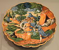 Dish with scene of Judith and Holofernes, c. 1550-1560, Castel Durante, Italy, perhaps the workshop of Ludovico and Angelo Picchi, tin-glazed earthenware (maiolica) - Gardiner Museum, Toronto - DSC01282.JPG