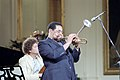 """Dizzy Gillespie Playing While Attending PBS Taping """"Performance in The White House Series"""" with Dizzy Gillespie and Stan Getz in The East Room.jpg"""