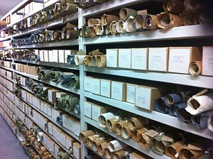 Coventry History Centre - Documents on shelves in the archives' underground store.