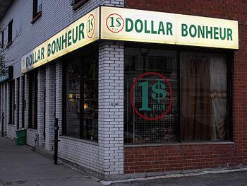 "English: A dollar store, ""Dollar Bonheur&..."
