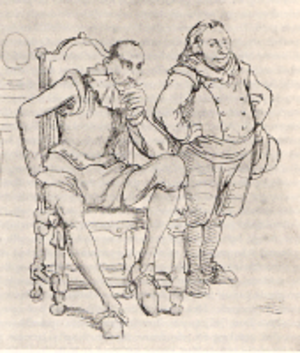 Alonso Quijano - Alonso Quijano (seated) beside his squire Sancho. Illustration by Wilhelm Marstrand (1810-1873).