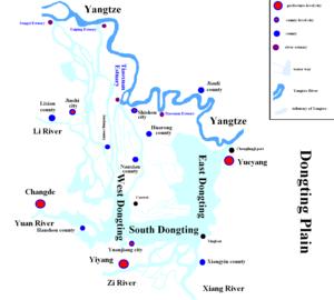 Dongting Lake - Map of  Dongting Plain