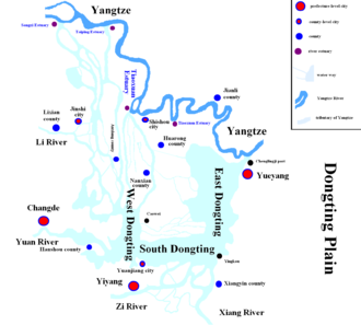 Dongting Lake - Map of  Dongting Plain