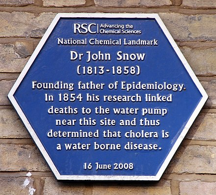 Blue plaque erected by the Royal Society of Chemistry Dr John Snow (24023399742).jpg