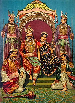 Yudhishthira - Yudhishthira on the throne with Draupadi, surrounded by the other Pandavas