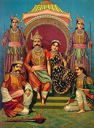 English: Draupadi and Pandavas