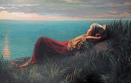 portrait of girl daydreaming by Jozef Israëls