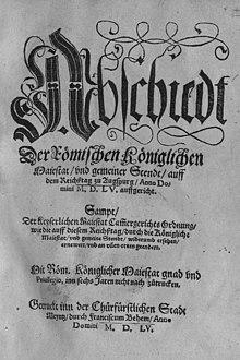 Reichstagsabschied von Augsburg. Erste Seite des von Franz Behem in Mainz gedruckten Dokuments (Quelle: Wikimedia)