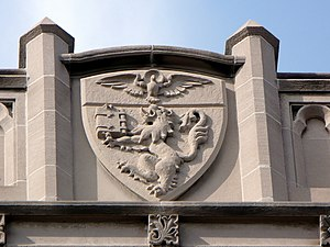 Duquesne University - Duquesne University's coat of arms is carved in high relief above Canevin Hall.