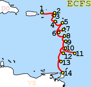 ECFS (cable system) - Image: ECFS route