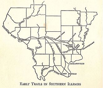 Shawneetown–Kaskaskia Trail - Illustration of historic trails through Southern Illinois.  Including: G.R. Clark 1778 Trail, Worthen Trail, Kaskaskia Trail.