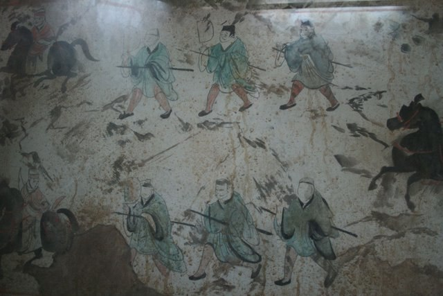 Eastern Han Dynasty tomb fresco of chariots, horses, and men, Luoyang 3