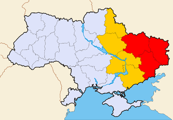 English: Eastern Ukraine. Filled with red - al...