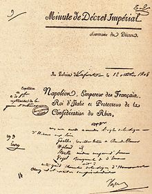Dekret Napoleons vom 12.Oktober 1808 über die Ernennung zum Ritter der Ehrenlegion für Goethe, Wieland, Stark und Vogel (Quelle: Wikimedia)
