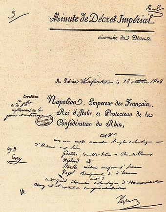 dekret napoleons zur ernennung von goethe wieland stark und vogel brgermeister in jena - Napoleon Bonaparte Lebenslauf