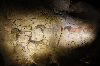 History of the Basques - Horse paintings on the walls of the cave Ekain (Ekainberri), near Azpeitia