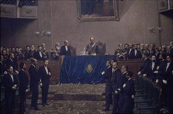 El presidente Julio Argentino Roca inaugura el per%C3%ADodo legislativo del a%C3%B1o 1886