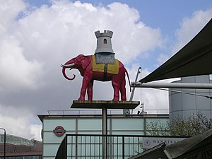 Elephant & Castle tube station - Image: Elephant and Castle statue at Elephant and Castle geograph.org.uk 150330
